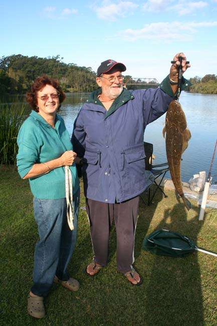 John and Jeanette with a 71cm flathead