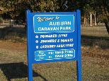 Auburn Showground Caravan Park - Clare Valley: Auburn Showground Caravan Park welcome sign.